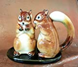 Dollhouse Miniatures Ceramic Salt&Pepper Brown Squirrel FIGURINE Animals Decor