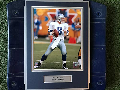 (Dallas Cowboys Troy Aikman #8 Image Photo Framed on Texas Stadium Seat Bottom)