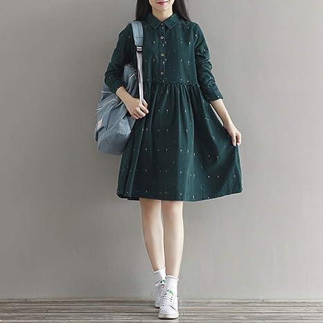 MEILINVREN Vestidos para,Las Mujeres Vintage Collar Suelta Personaje Lleno La Camisa Casual Pana Verde Vestido Señorita Tendencia Retro: Amazon.es: Deportes y aire libre