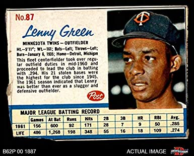 Amazoncom 1962 Post Cereal 87 Lenny Green Minnesota Twins