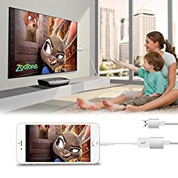 MobieCube HD Mirroring Cable Smart PnP Lightning to HDMI Cable supports 1080P Connector TV Car Projector Adapter for iPhone 7/ 5/5C/5S/6/6 Plus/6S ,Samsung S3/4/5/6 Note with USB Charging (Upgraded)