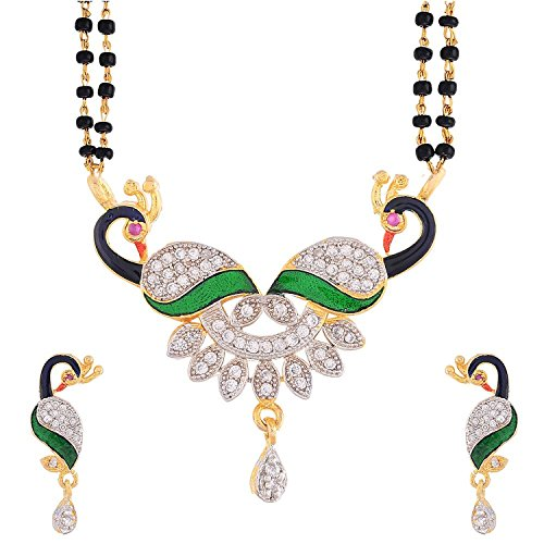 Awww Gold Plated American Diamond Mangalsutra with Earrings For women