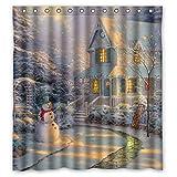 dark grey curtains argos L.Fisher Custom Merry Christmas Cute Snowman Waterproof Polyester Shower Curtain 60x72