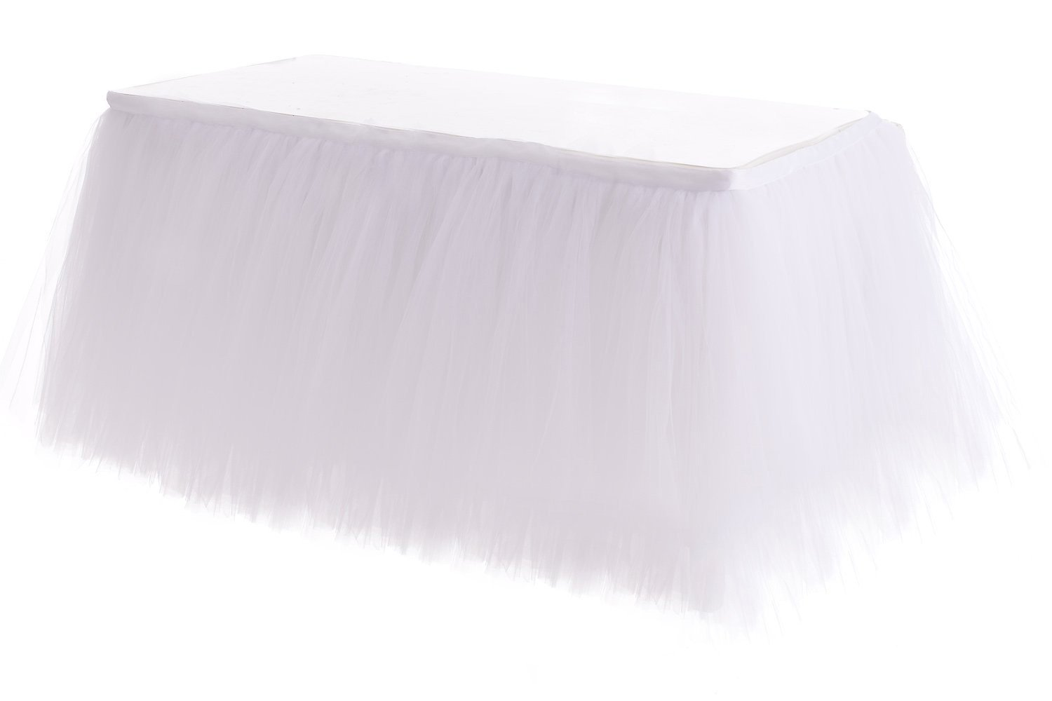 HB HBB MAGIC 6ft White Tulle Table Skirt Tutu Table Skirts Wedding Birthday Baby Shower Party Table Skirting