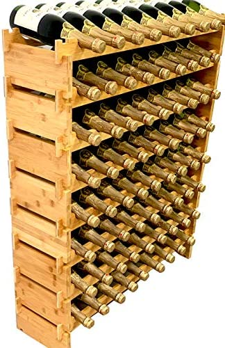 DECOMIL 72 Bottle Stackable Modular Wine Rack Wine Storage Rack Solid Bamboo Wine Holder Display Shelve