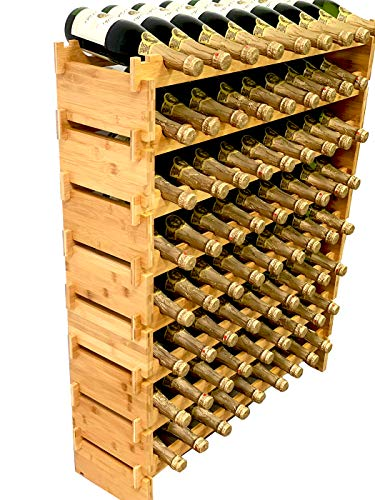 DECOMIL - 72 Bottle Stackable Modular Wine Rack Wine Storage Rack Solid Bamboo Wine Holder Display Shelves, Wobble-Free (Eight-Tier, 72 Bottle Capacity)