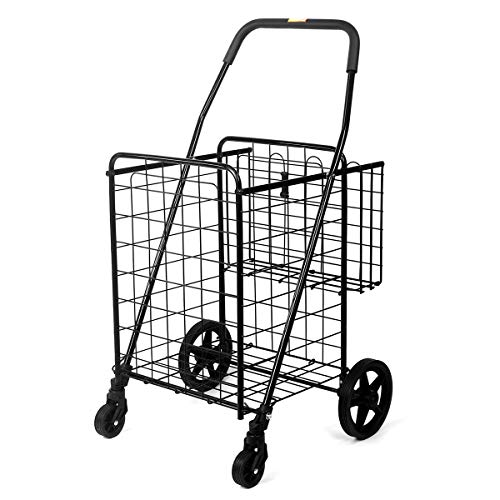 Durable Utility Folding Shopping Cart – Supenice (SN7503) Double Basket, Mesium Size, Swivel Wheels, 66 lbs Capacity Multipurpose Trolley Dolly Suitable with Laundry, Shopping, Grocery