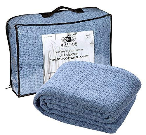 - HILLFAIR 100% Soft Premium Combed Cotton Thermal Blanket- Queen Blankets- Soft Cozy Warm Cotton Blanket- Bed Throw Blanket- Queen Bed Blankets- All Season Cotton Blanket- Blue Queen Cotton Blankets
