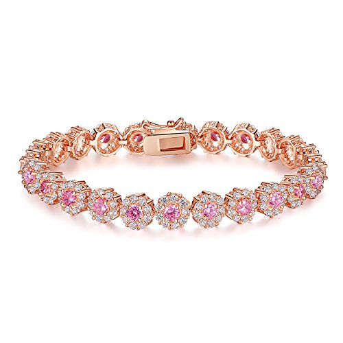 BAMOER Classic Rose Gold Plated Bracelet with Sparkling Pink Cubic Zirconia Stones for Women Girls for Her 7.5 ()