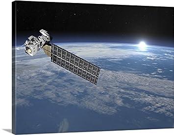 amazon com gallery wrapped canvas entitled aqua satellite orbiting
