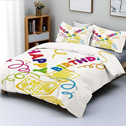 Duplex Print Duvet Cover Set Queen Size,Surprise in a Box Doodle Style Cheerful Spirals Confetti and StarsDecorative 3 Piece Bedding Set with 2 Pillow Sham,Multicolor,Best Gift for Kids & Adult