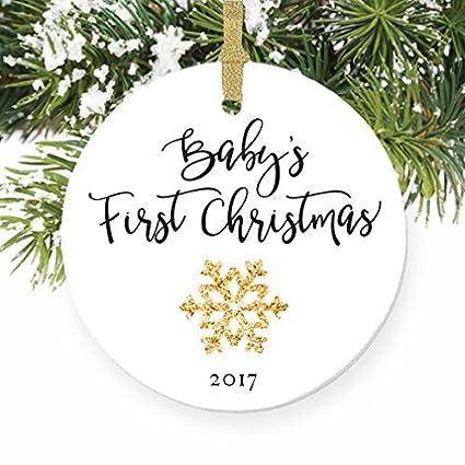 babys first gender neutral snowflake round christmas ornament keepsake xmas tree decoration wedding anniversary present christmas - Gender Neutral Christmas Gifts