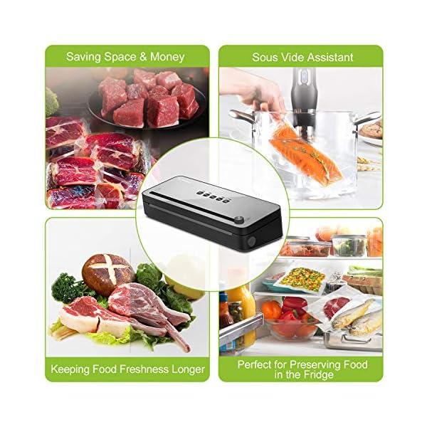 Macchina Sottovuoto per Alimenti Bonsenkitchen, Sigillatore sottovuoto con taglierina incorporata, per alimenti freschi… 3