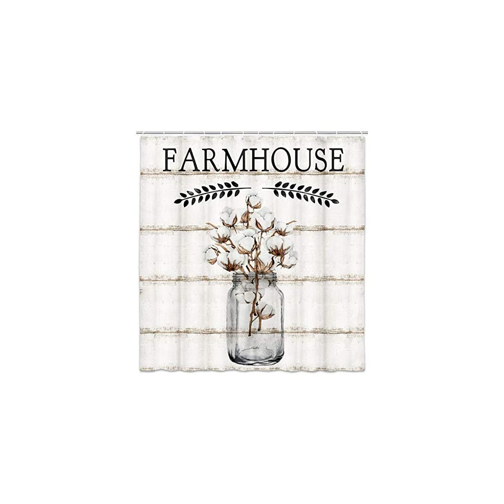 Farmhouse Shower Curtain, Farm Cotton Flower in Jar with Peace Branch on Country Rustic Wooden Plank Fabric Shower…