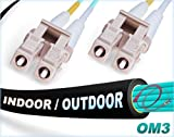 FiberCablesDirect - 60M OM3 LC LC Fiber Patch Cable | Indoor/Outdoor 10Gb Duplex 50/125 LC to LC Multimode Jumper 60 Meter (196.85ft) | Length Options: 0.5M-300M | 1/10/40/100g sfp+ 10gbase lc-lc ofnr