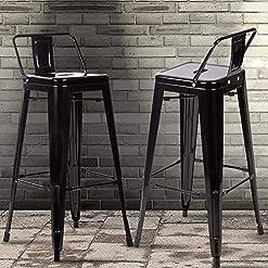 Farmhouse Barstools Bar Stool Set of 2 Counter Stool Industrial Metal Chairs Patio Tolix-Style Barstools 30-inch Black Trattoria Bar Side… farmhouse barstools