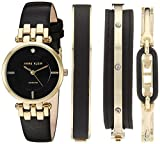 Anne Klein Women's AK/2684BKST Diamond-Accented Gold-Tone and Black Leather Strap Watch and Bangle Set