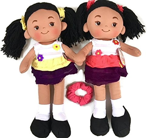 Search : Sweet Cakes African-American Girl Doll Bundle - 3 items: Two Rag Dolls Aissa by Linzy (16-inch) with Boutique Scrunchie for Little Girl