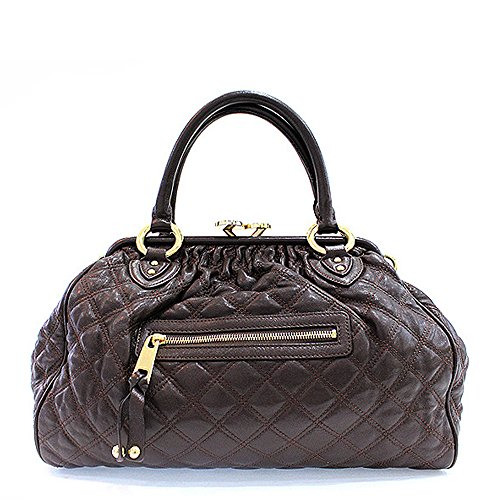 Marc Jacobs Satchel Quilted (Marc Jacobs Classic Quilted Stam Satchel Bag, Dark Brown)