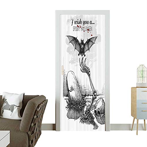 Homesonne Door Sticker WallpaperDead Skull Zombie Out of Grave and Flying Hand Drawn Style Spooky Pict Fashion and Various patternW23.6 x H78.7 INCH -