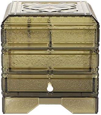 Caja almacenaje cosmética de acrílico para joyas transparentes, contenedor polvo 3 capas, estuche almacenamiento maquillaje clásico, aretes collar Decoraciones artísticas Organizador(Amarillo): Amazon.es: Belleza