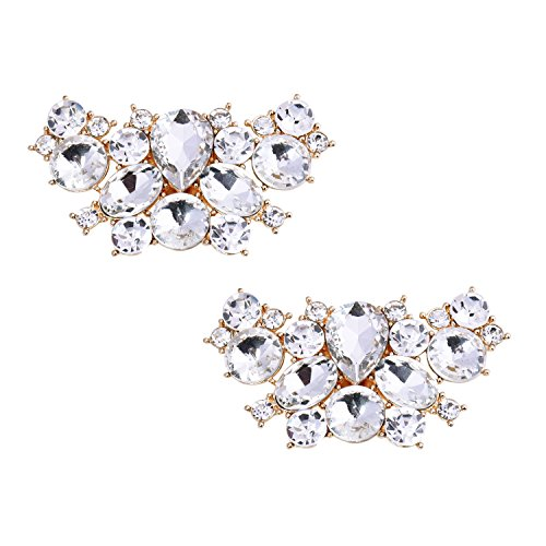 ElegantPark BF 2 Pcs Shoe Clips Butterfly Rhinestones Wedding Party Decoration Gold