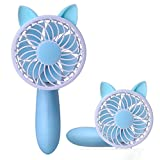 abcGoodefg Portable Mini Fan Handheld Misting Fan Cute Table Desk Cooling Fan for Home Office Traveling Camping Outdoor Activities (Blue)