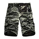 Leedford Men's Pants, Men's Casual Camouflage Outdoors Pocket Beach Work Trouser Cargo Shorts Pant (Army Green, 33)