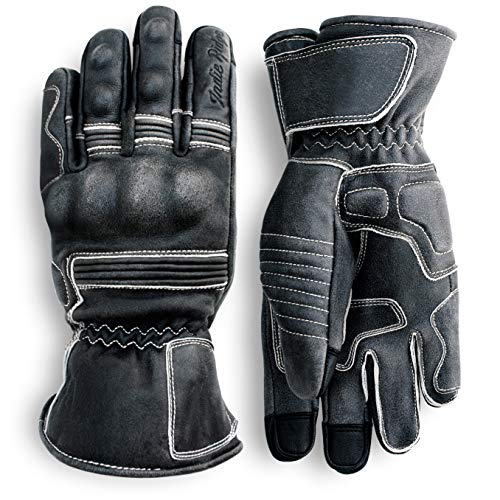 Pre-Weathered Premium Leather Motorcycle Gloves (Black) Cool, Comfortable Riding Protection, Cafe Racer, Full Gauntlet with Mobile Touch Screen (XX-Large)