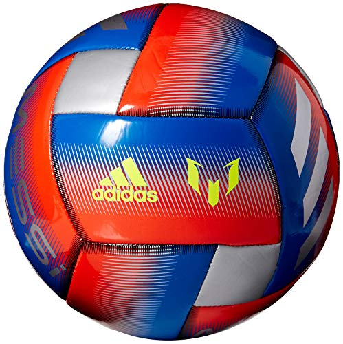 adidas Messi Glider Soccer Ball Football Blue/Active Red/Silver Metallic, 4