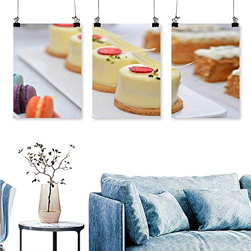 - SCOCICI1588 3-Piece Home Decoration Gourmet Jelly Cake to Hang for Living Room No Frame 12 INCH X 12 INCH X 3PCS