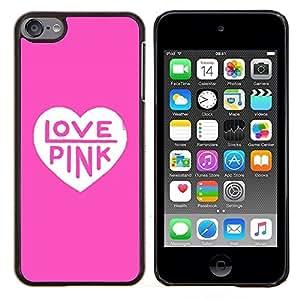 Rosa del amor del corazón del color de texto blanco limpio- Metal de aluminio y de plástico duro Caja del teléfono - Negro - iPod Touch 6