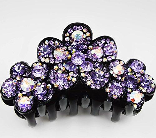 Fancyin New arrival Luxury Purple Crystal colorful rhinestones hair claw clip for women by Fancyin (Image #1)