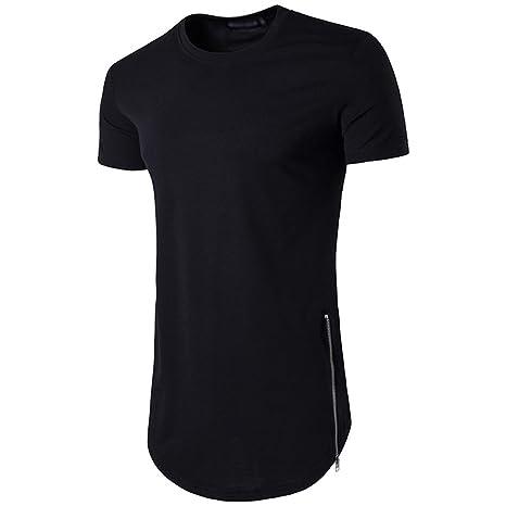 f55b30644d CHENGYANG Uomo Lungo T-shirt con Cerniera Casual Tinta Unita Basic Maglietta