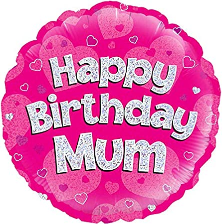 Cumpleaños Feliz mamá rosa holográfico 18