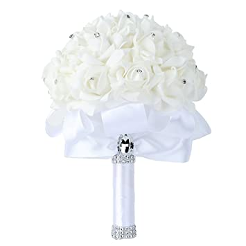 Amazon Wedding Bouquet Febou Big Size White Bridesmaid Bouquet