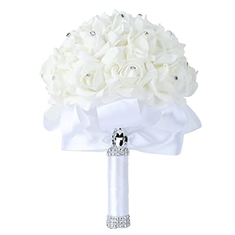 Wedding Bouquet Febou Big Size White Bridesmaid Bridal With Crystals Soft Ribbons