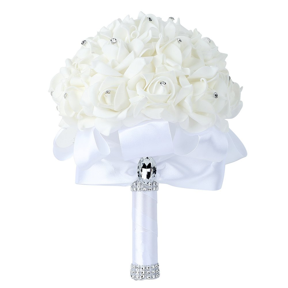 Best flowers for bride amazon wedding bouquet febou big size white bridesmaid bouquet bridal bouquet with crystals soft ribbons artificial rose flowers for wedding party and church izmirmasajfo
