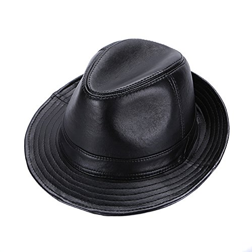 Sandy Ting Sheepskin Leather hat Classic Cowboy Fedora Hat (Medium/21-22in)