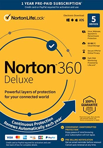 Norton 360 Deluxe – Antivirus Software for 5 Devices with Auto Renewal – Includes VPN, PC Cloud Backup & Dark Web Monitoring Powered by LifeLock [Key Card]