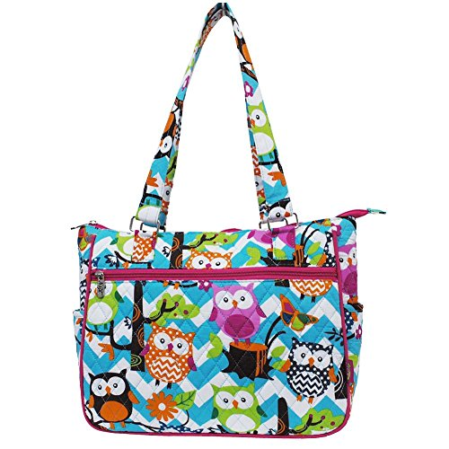 (Ngil Quilted Cotton Shoulder Bag (Chevron Owl Aqua Hot Pink))
