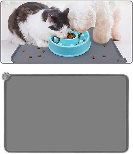 Voarge Mantel individual para comida de mascotas, alfombrilla para comederos para gatos o perros, alfombrilla de silicona con borde, impermeable, ...