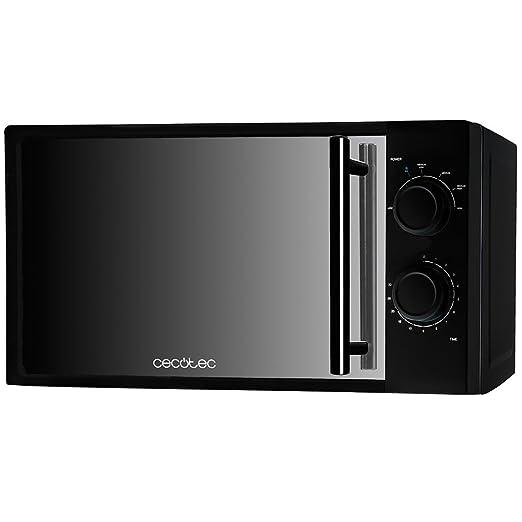 Cecotec Microondas AllBlack. Capacidad de 20l, 700 W de Potencia, 6 Niveles Funcionamiento, Temporizador 30 min, Modo Descongelar, Acabado Negro