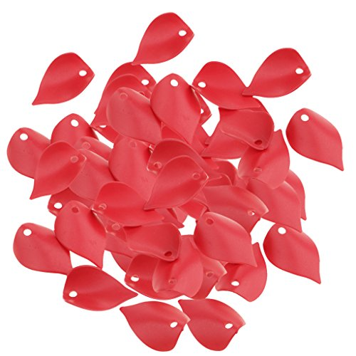 (SM SunniMix 100 Pieces Plastic Lily Flower Petal Loose Bead 2x1.3cm with Top Hole Leaf Beads - Red)