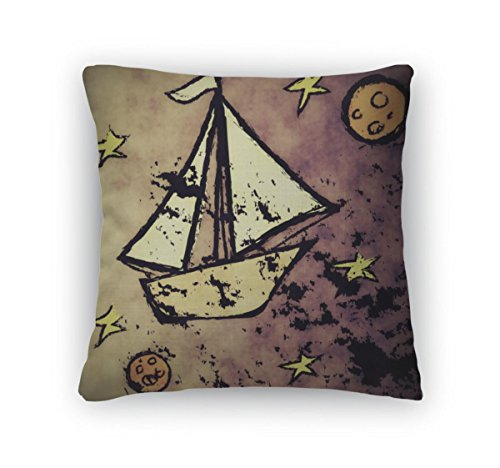 Gear New Doodle Concept Grunge Sailboat in Space Solar Sailing Zippered Square Pillow by Gear New