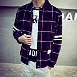 Spritech(TM) Men's New Fashion Comfort Winter Slim Fit Grid Turndown Collar Woolen Jacket Overcoat 4XL
