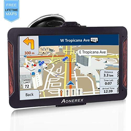 Car GPS Navigation, Aonerex 7 inch 8GB&256MB GPS Navigation System,Spoken Turn- to-Turn Traffic Alert Vehicle Car GPS Navigator,Lifetime Free Map Updates