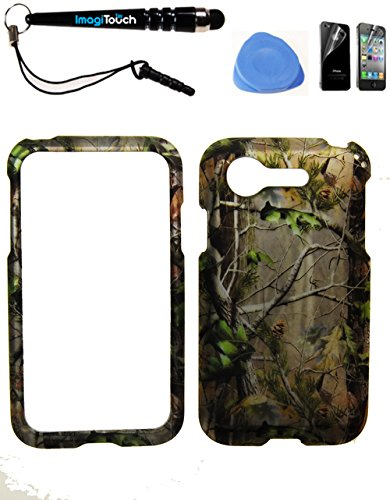 IMAGITOUCH ® LG Optimus Zone 2 Fuel L34C VS415PP (Verizon Prepaid) Rubberized 2D Design Pine Tree Hunter Camo Green Case Cover Protector 4-Item Combo: Phone Cover, Screen Protector, Stylus Pen, Pry Tool (Lg Optimus Fuel Prepaid Phone compare prices)