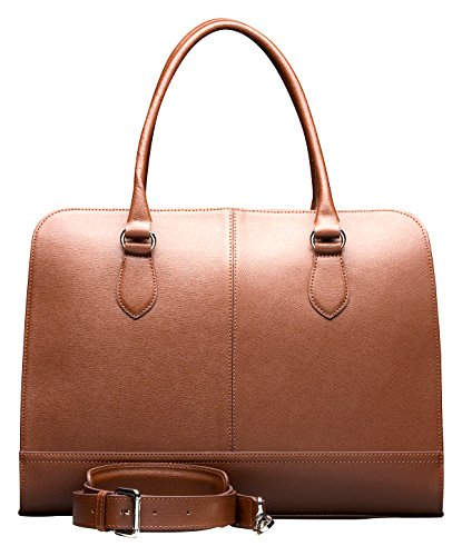 Su.B Designer Laptop Handbag Messenger Bag for Women (14 or 13.3 Inch) | Genuine Italian Leather | Professional, Vertical Shoulder Tote | Computer, PC, Notebook, MacBook | Brown (Safiano) by Su.B