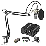 Neewer Home Studio NW-700 Condenser Microphone Kit with Shock Mount(Silver), NW-35 Boom Scissor Arm Stand, 48V Phantom Power Supply, XLR Cable, Pop Filter and Type-A USB External Stereo Sound Adapter